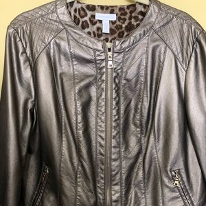Charter Club Bronze Faux Leather Jacket Large